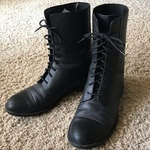 Urban Outfitters Classic Black Leather Combat Boot